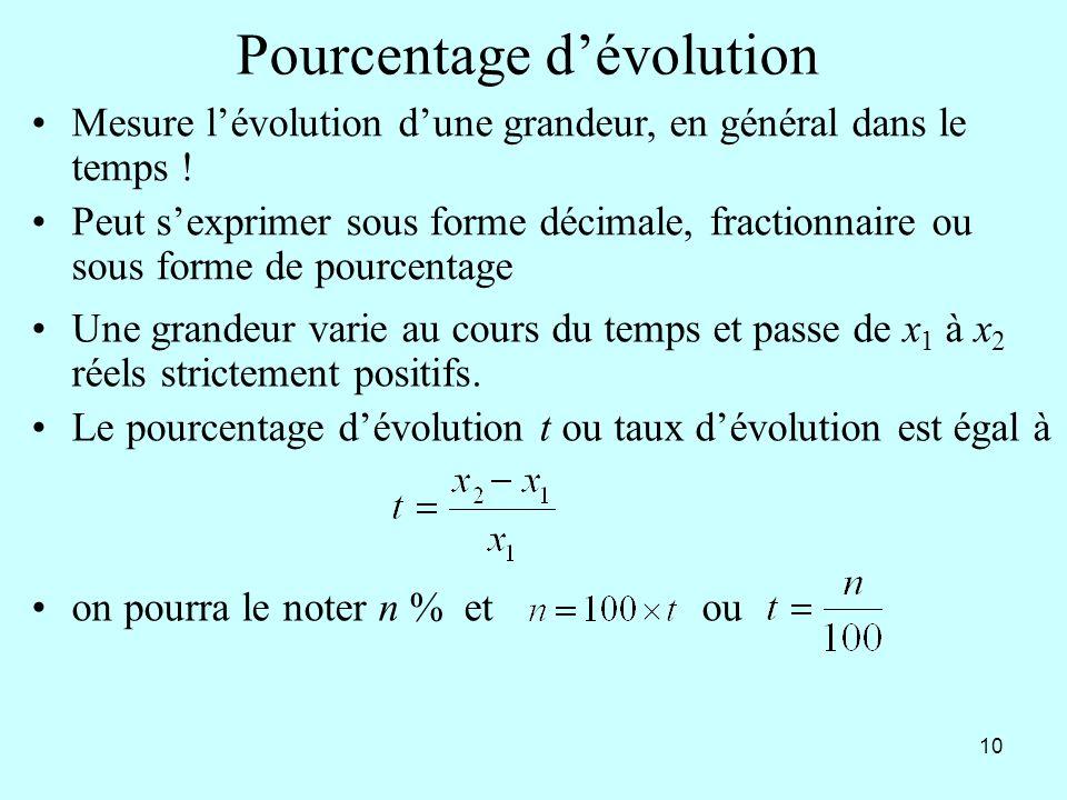 10 Pourcentage dévolution Mesure lévolution dune grandeur, en général dans le temps ! Peut sexprimer sous forme décimale, fractionnaire ou sous forme