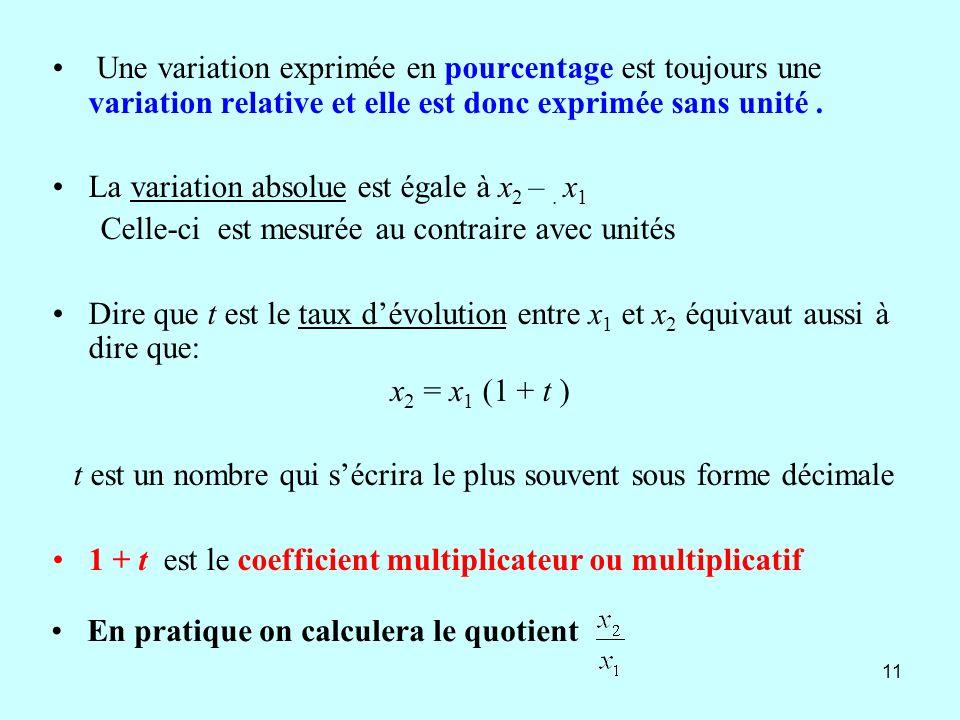 11 Une variation exprimée en pourcentage est toujours une variation relative et elle est donc exprimée sans unité. La variation absolue est égale à x
