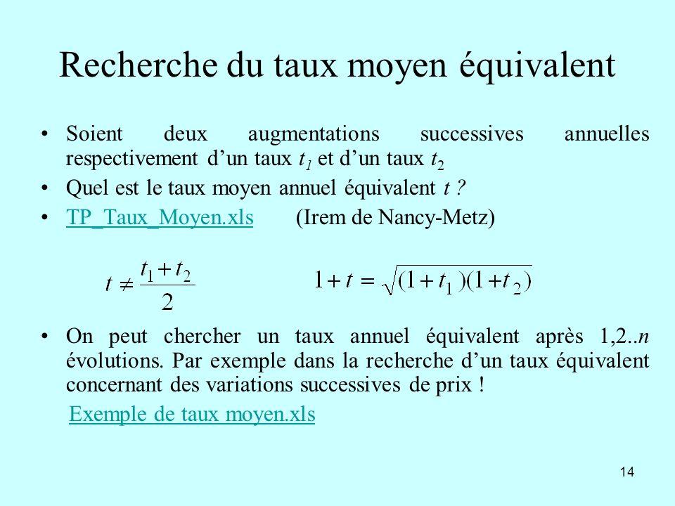 14 Recherche du taux moyen équivalent Soient deux augmentations successives annuelles respectivement dun taux t 1 et dun taux t 2 Quel est le taux moy