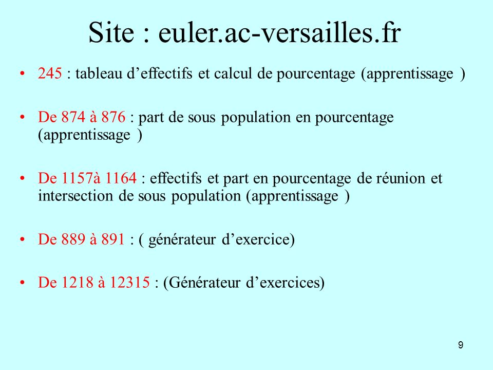 9 Site : euler.ac-versailles.fr 245 : tableau deffectifs et calcul de pourcentage (apprentissage ) De 874 à 876 : part de sous population en pourcenta