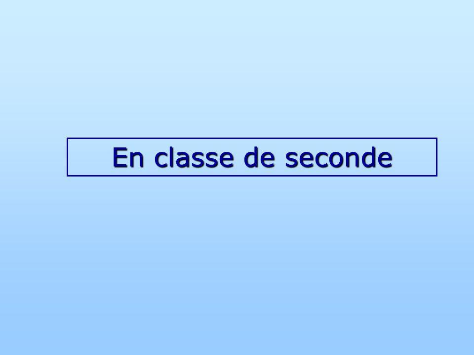 En classe de seconde