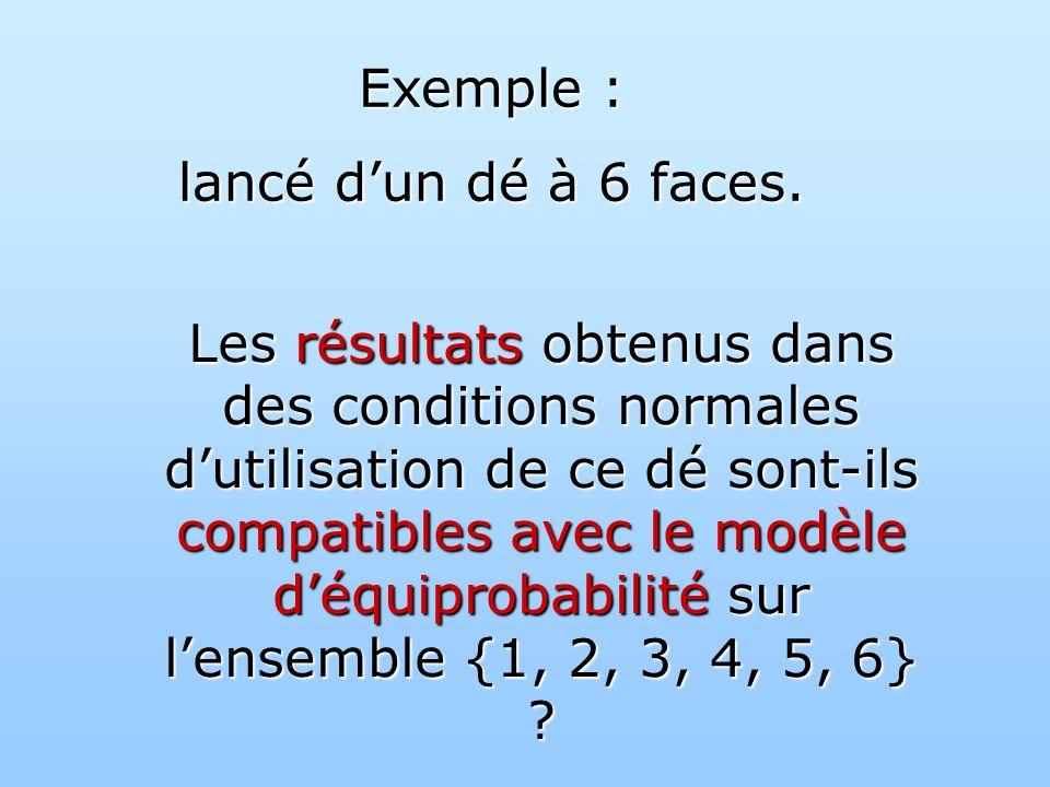Exemple : lancé dun dé à 6 faces.