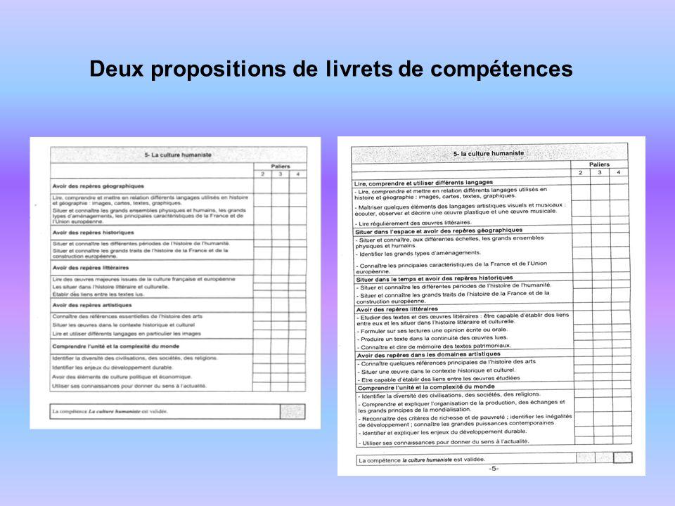 Deux propositions de livrets de compétences