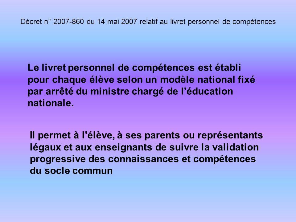 Le livret personnel de compétences est établi pour chaque élève selon un modèle national fixé par arrêté du ministre chargé de l éducation nationale.