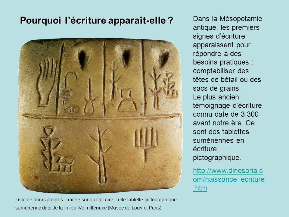 Dans la Mésopotamie antique, les premiers signes décriture apparaissent pour répondre à des besoins pratiques : comptabiliser des têtes de bétail ou d