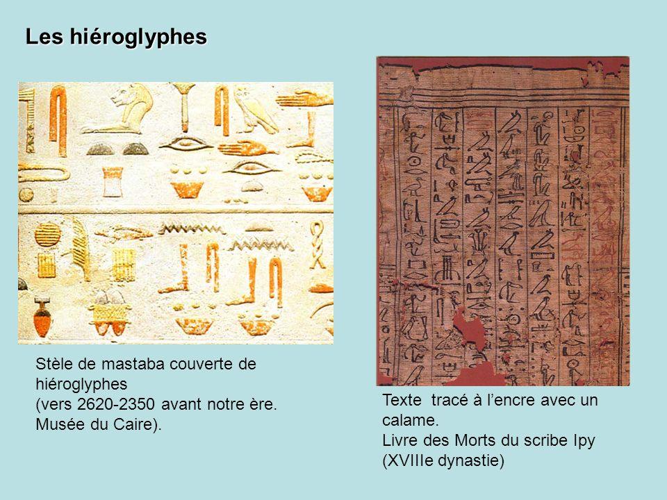 Stèle de mastaba couverte de hiéroglyphes (vers 2620-2350 avant notre ère. Musée du Caire). Texte tracé à lencre avec un calame. Livre des Morts du sc