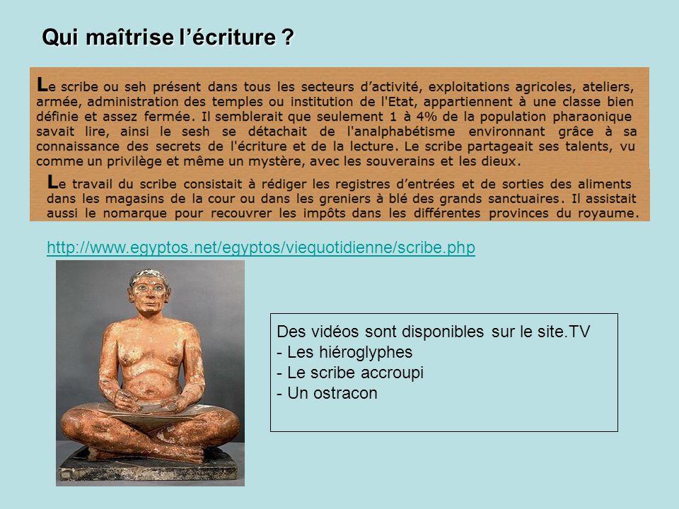 http://www.egyptos.net/egyptos/viequotidienne/scribe.php Des vidéos sont disponibles sur le site.TV - Les hiéroglyphes - Le scribe accroupi - Un ostra