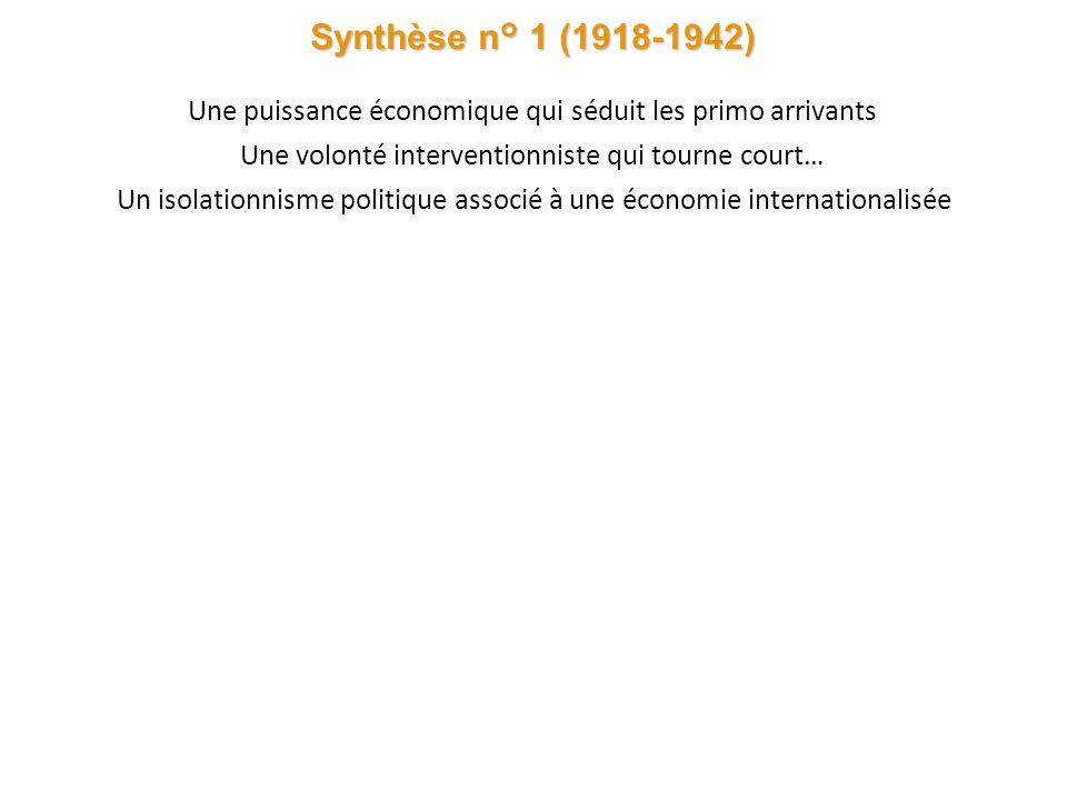 Synthèse n° 1 (1918-1942) Une puissance économique qui séduit les primo arrivants Une volonté interventionniste qui tourne court… Un isolationnisme politique associé à une économie internationalisée