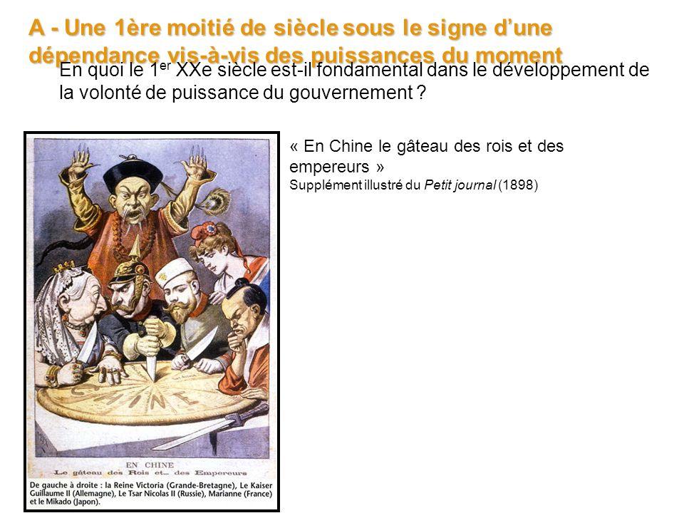 A - Une 1ère moitié de siècle sous le signe dune dépendance vis-à-vis des puissances du moment « En Chine le gâteau des rois et des empereurs » Supplé