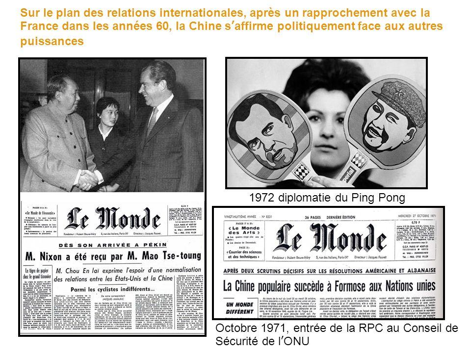 Sur le plan des relations internationales, après un rapprochement avec la France dans les années 60, la Chine saffirme politiquement face aux autres puissances Octobre 1971, entrée de la RPC au Conseil de Sécurité de lONU 1972 diplomatie du Ping Pong