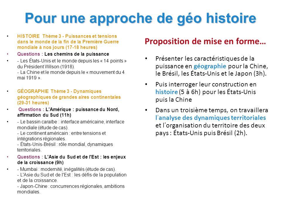 Pour une approche de géo histoire HISTOIRE Thème 3 - Puissances et tensions dans le monde de la fin de la Première Guerre mondiale à nos jours (17-18