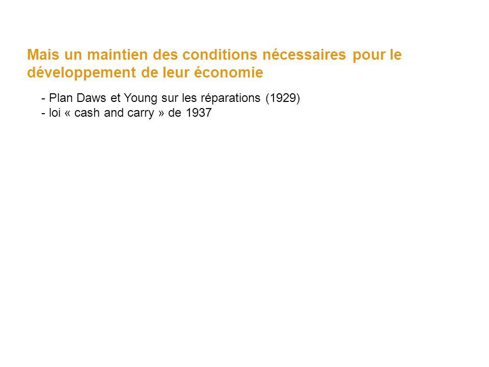 Mais un maintien des conditions nécessaires pour le développement de leur économie - Plan Daws et Young sur les réparations (1929) - loi « cash and ca
