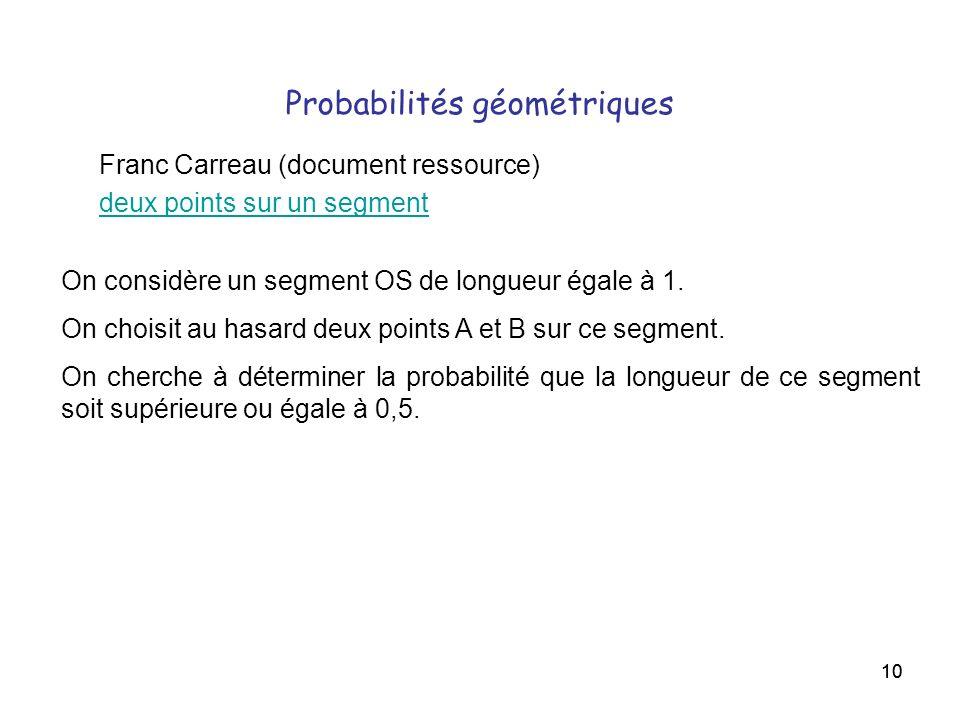 10 Probabilités géométriques Franc Carreau (document ressource) deux points sur un segment On considère un segment OS de longueur égale à 1. On choisi