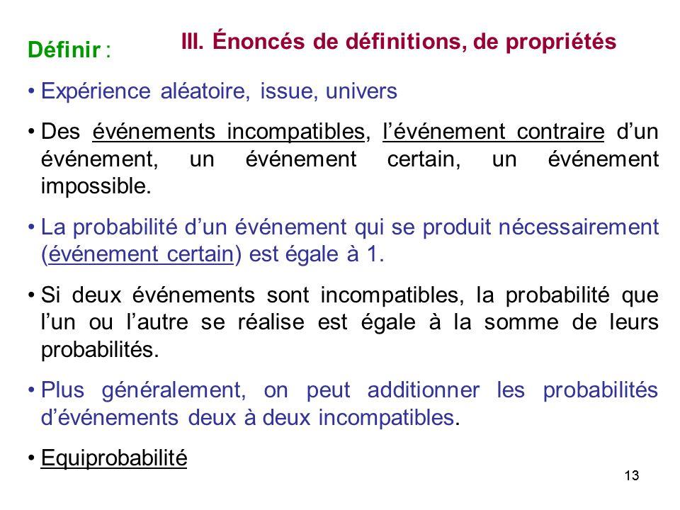 13 Définir : Expérience aléatoire, issue, univers Des événements incompatibles, lévénement contraire dun événement, un événement certain, un événement
