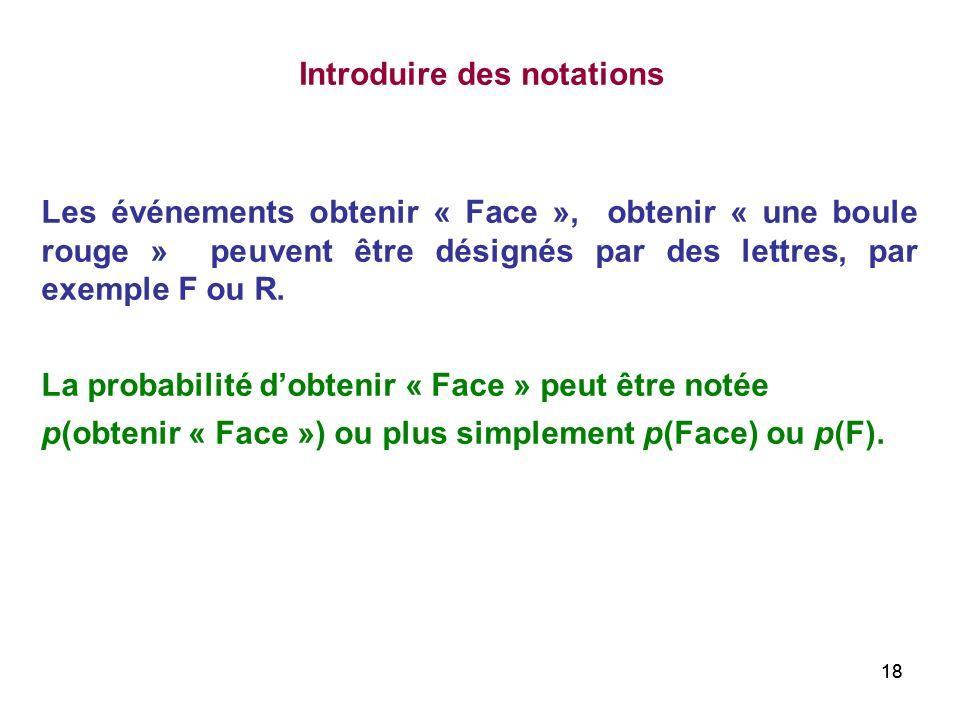 18 Les événements obtenir « Face », obtenir « une boule rouge » peuvent être désignés par des lettres, par exemple F ou R. La probabilité dobtenir « F
