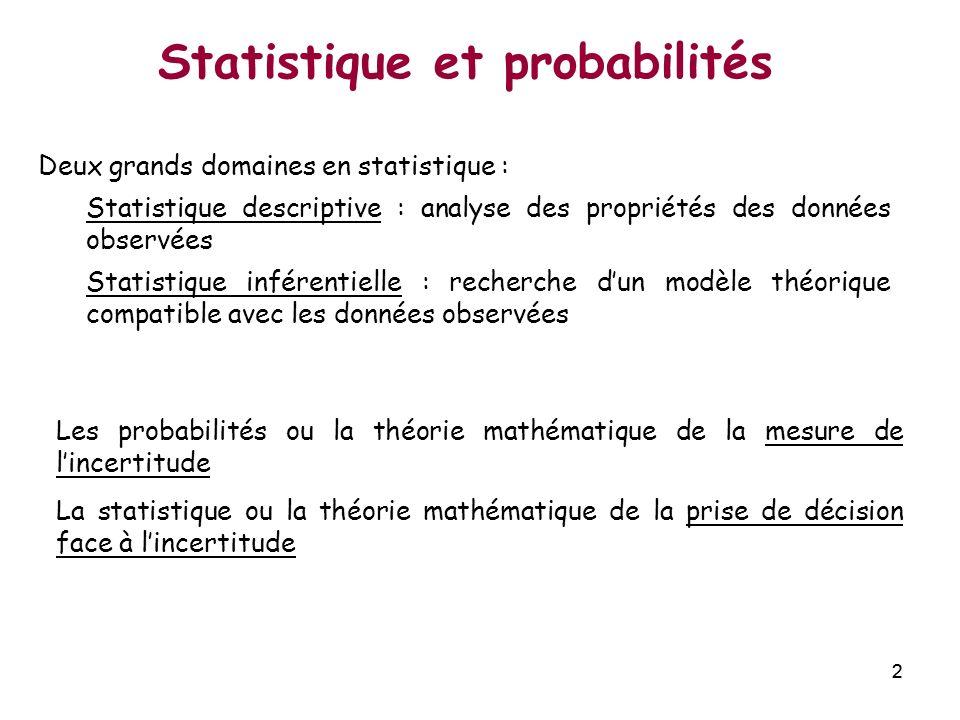 22 Statistique et probabilités Les probabilités ou la théorie mathématique de la mesure de lincertitude La statistique ou la théorie mathématique de l