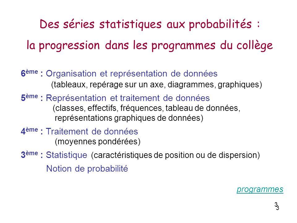 3 3 6 ème : Organisation et représentation de données (tableaux, repérage sur un axe, diagrammes, graphiques) 5 ème : Représentation et traitement de