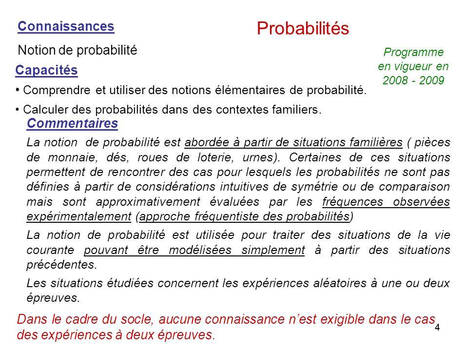 44 Capacités Comprendre et utiliser des notions élémentaires de probabilité. Calculer des probabilités dans des contextes familiers. Commentaires La n