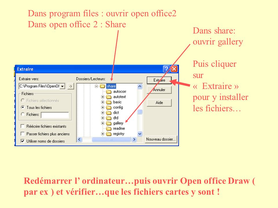 Dans program files : ouvrir open office2 Dans open office 2 : Share Dans share: ouvrir gallery Puis cliquer sur « Extraire » pour y installer les fichiers… Redémarrer l ordinateur…puis ouvrir Open office Draw ( par ex ) et vérifier…que les fichiers cartes y sont !