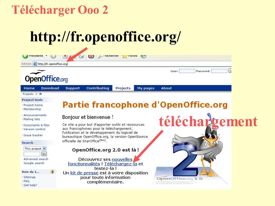 Télécharger Ooo 2 http://fr.openoffice.org/ téléchargement