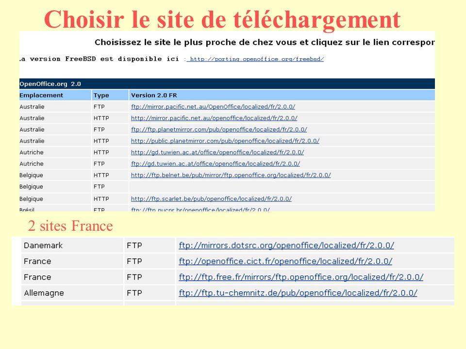 Choisir le site de téléchargement 2 sites France