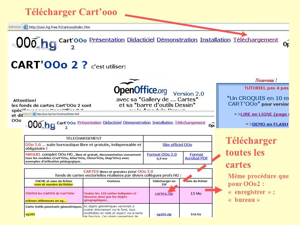 Télécharger Cartooo Télécharger toutes les cartes Même procédure que pour OOo2 : « enregistrer » ; « bureau »