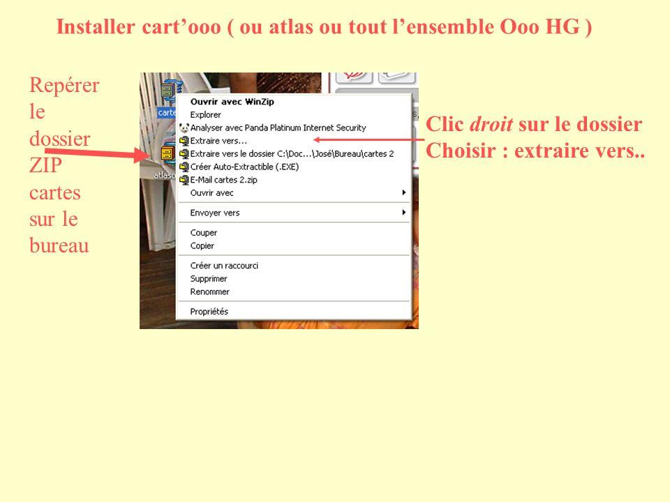 Installer cartooo ( ou atlas ou tout lensemble Ooo HG ) Repérer le dossier ZIP cartes sur le bureau Clic droit sur le dossier Choisir : extraire vers..