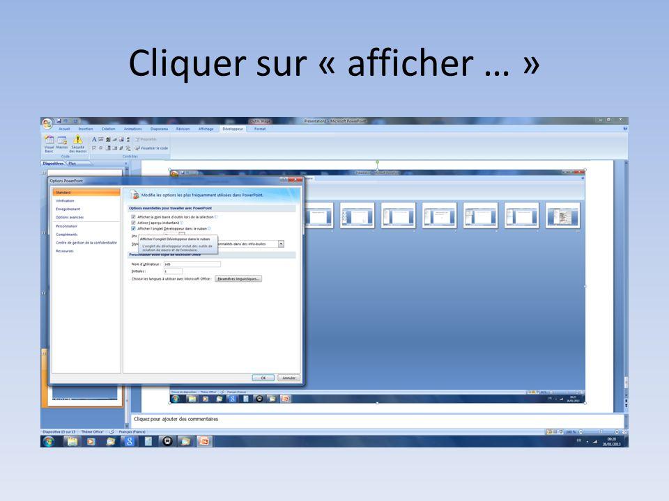 Sous Powerpoint 2010 cliquez en haut à gauche de lécran sur la petite flèche puis Autres commandes dans le Menu Contextuel….