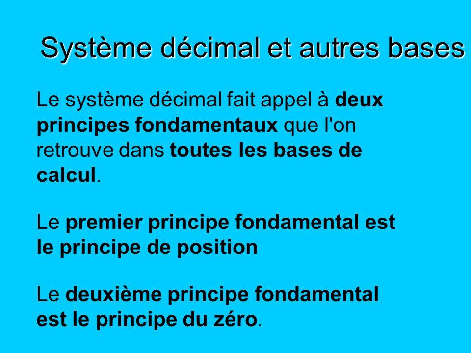 Le système décimal fait appel à deux principes fondamentaux que l'on retrouve dans toutes les bases de calcul. Le premier principe fondamental est le