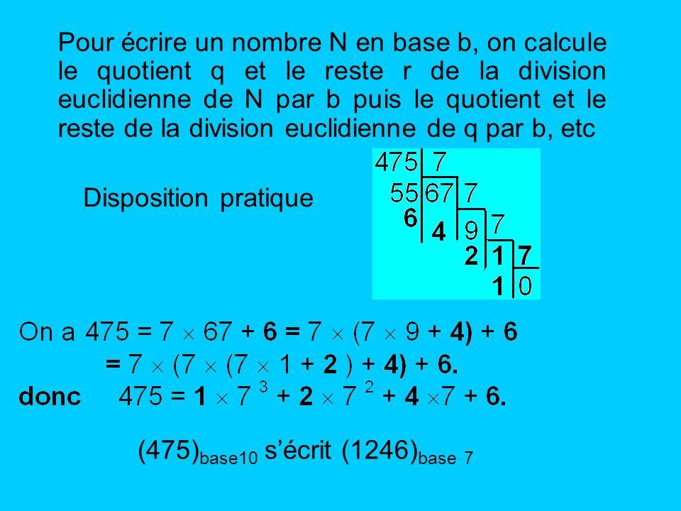 Pour écrire un nombre N en base b, on calcule le quotient q et le reste r de la division euclidienne de N par b puis le quotient et le reste de la div