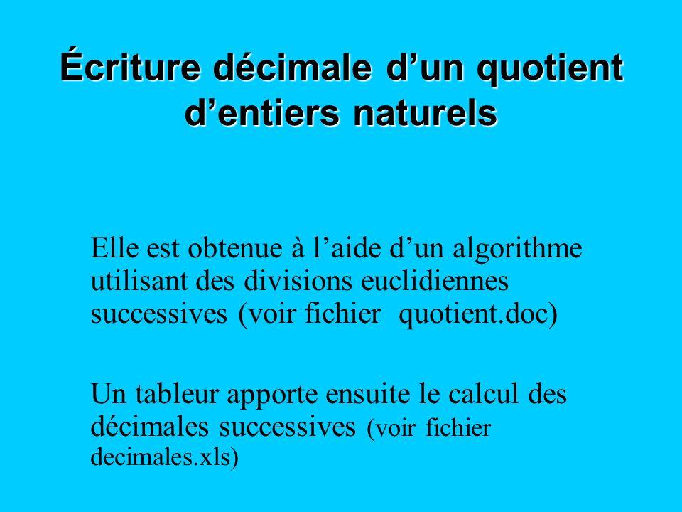 Écriture décimale dun quotient dentiers naturels Elle est obtenue à laide dun algorithme utilisant des divisions euclidiennes successives (voir fichie