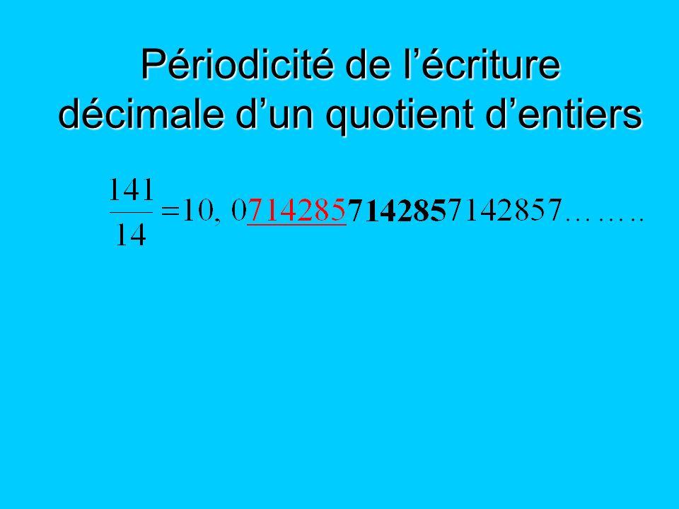 Périodicité de lécriture décimale dun quotient dentiers