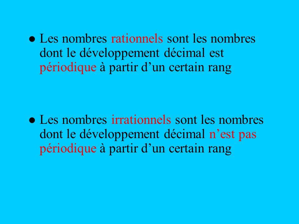 Les nombres rationnels sont les nombres dont le développement décimal est périodique à partir dun certain rang Les nombres irrationnels sont les nombr