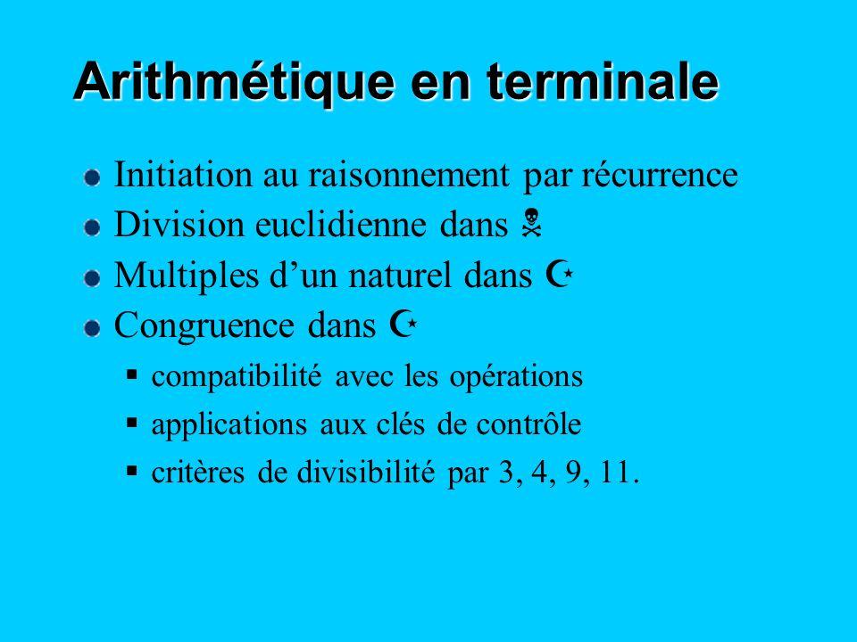 Arithmétique en terminale Initiation au raisonnement par récurrence Division euclidienne dans N Multiples dun naturel dans Z Congruence dans Z compati