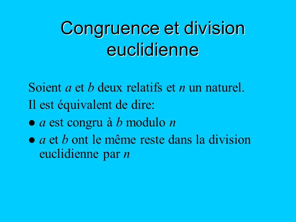 Congruence et division euclidienne Soient a et b deux relatifs et n un naturel. Il est équivalent de dire: a est congru à b modulo n a et b ont le mêm