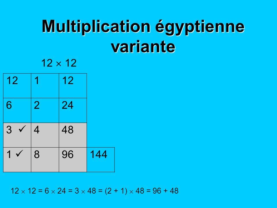Multiplication égyptienne variante 12 1 6224 3 448 1 896144 12 12 = 6 24 = 3 48 = (2 + 1) 48 = 96 + 48