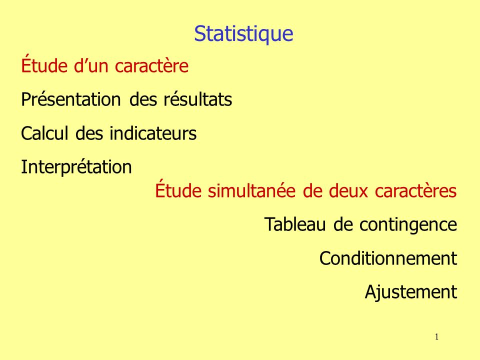1 Étude dun caractère Présentation des résultats Calcul des indicateurs Interprétation Étude simultanée de deux caractères Tableau de contingence Conditionnement Ajustement Statistique