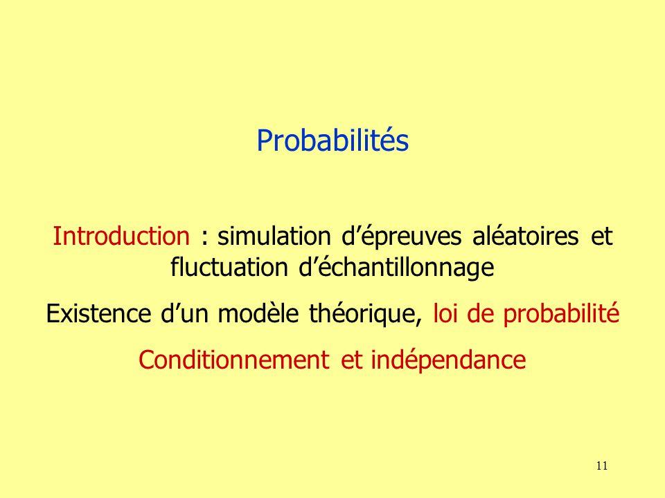 11 Probabilités Introduction : simulation dépreuves aléatoires et fluctuation déchantillonnage Existence dun modèle théorique, loi de probabilité Conditionnement et indépendance