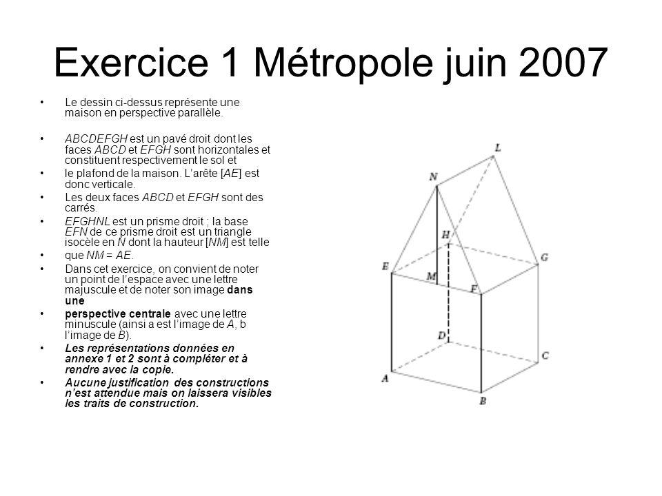 Exercice 1 Métropole juin 2007 Le dessin ci-dessus représente une maison en perspective parallèle. ABCDEFGH est un pavé droit dont les faces ABCD et E