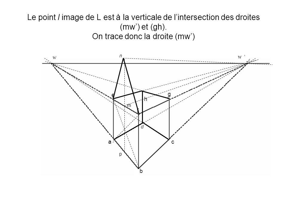 Le point l image de L est à la verticale de lintersection des droites (mw) et (gh). On trace donc la droite (mw) d h w w a b c e f g p m n