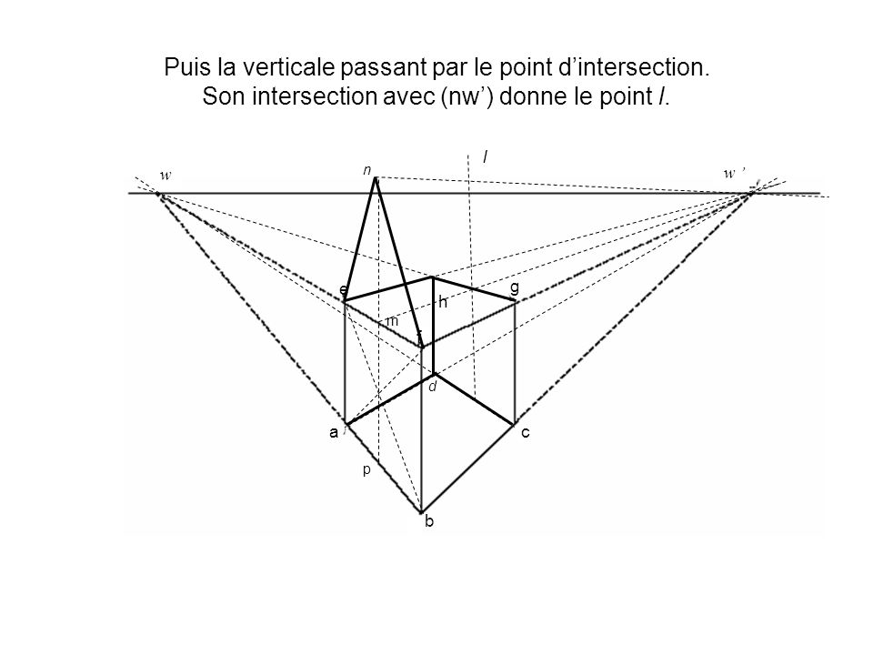 Puis la verticale passant par le point dintersection.