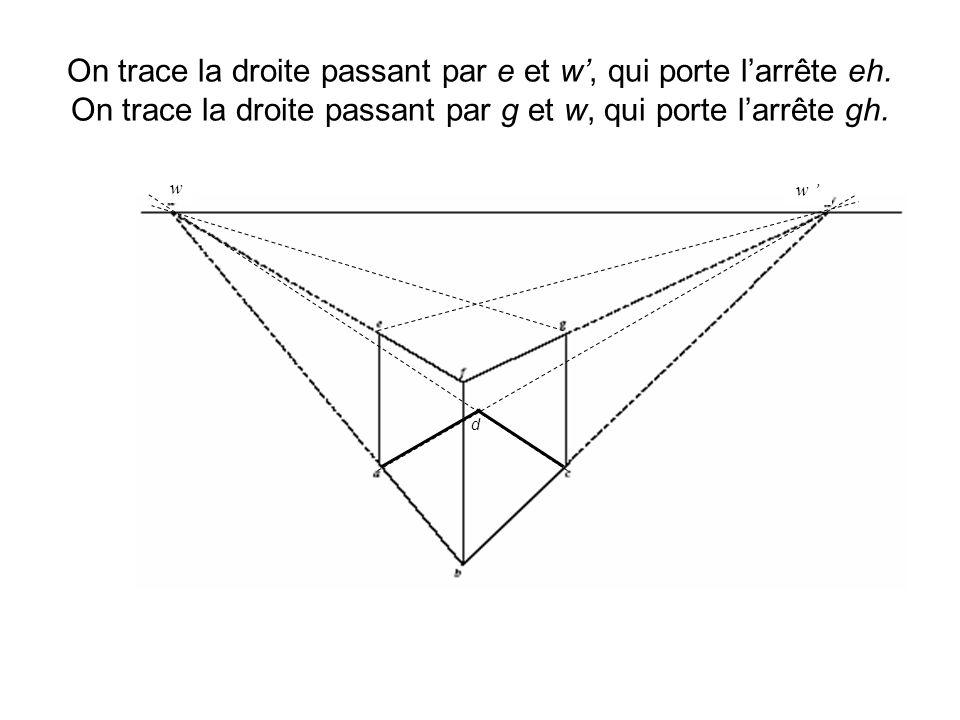 On trace la droite passant par e et w, qui porte larrête eh. On trace la droite passant par g et w, qui porte larrête gh. d w w