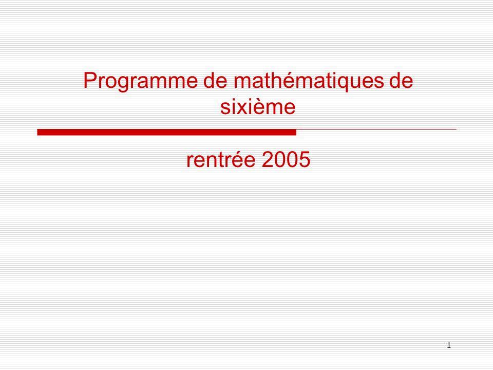 1 Programme de mathématiques de sixième rentrée 2005