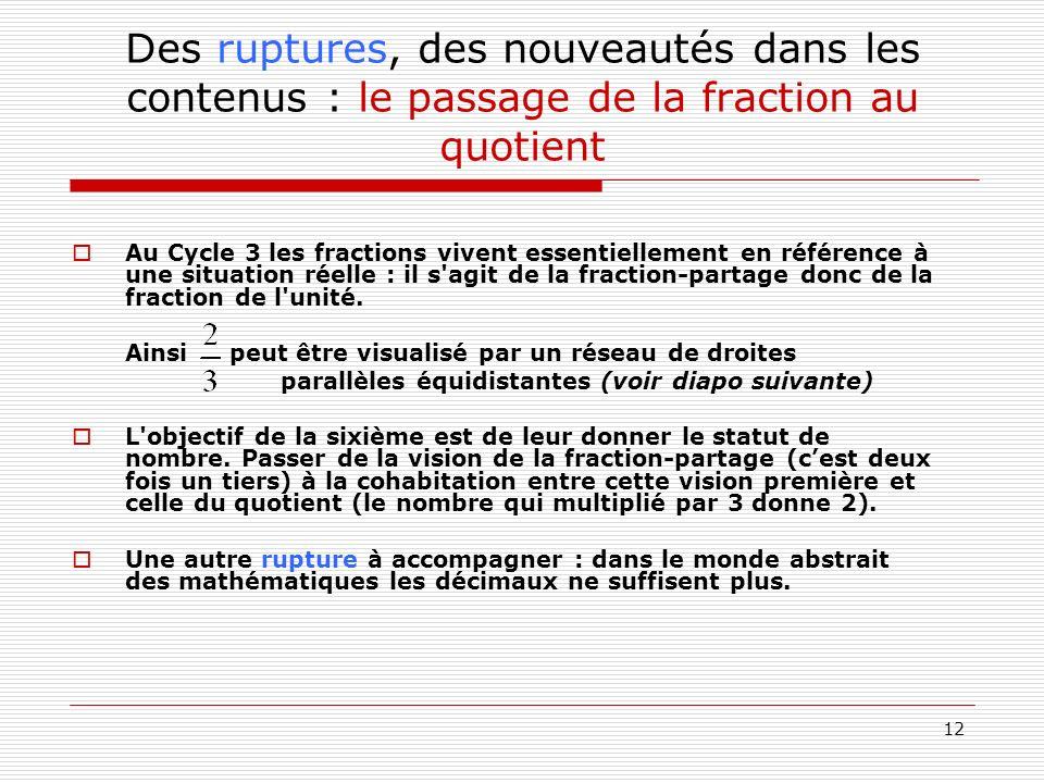 12 Des ruptures, des nouveautés dans les contenus : le passage de la fraction au quotient Au Cycle 3 les fractions vivent essentiellement en référence