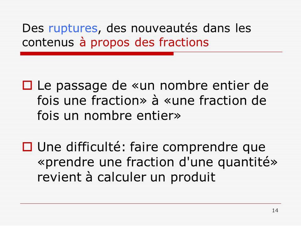 14 Des ruptures, des nouveautés dans les contenus à propos des fractions Le passage de «un nombre entier de fois une fraction» à «une fraction de fois