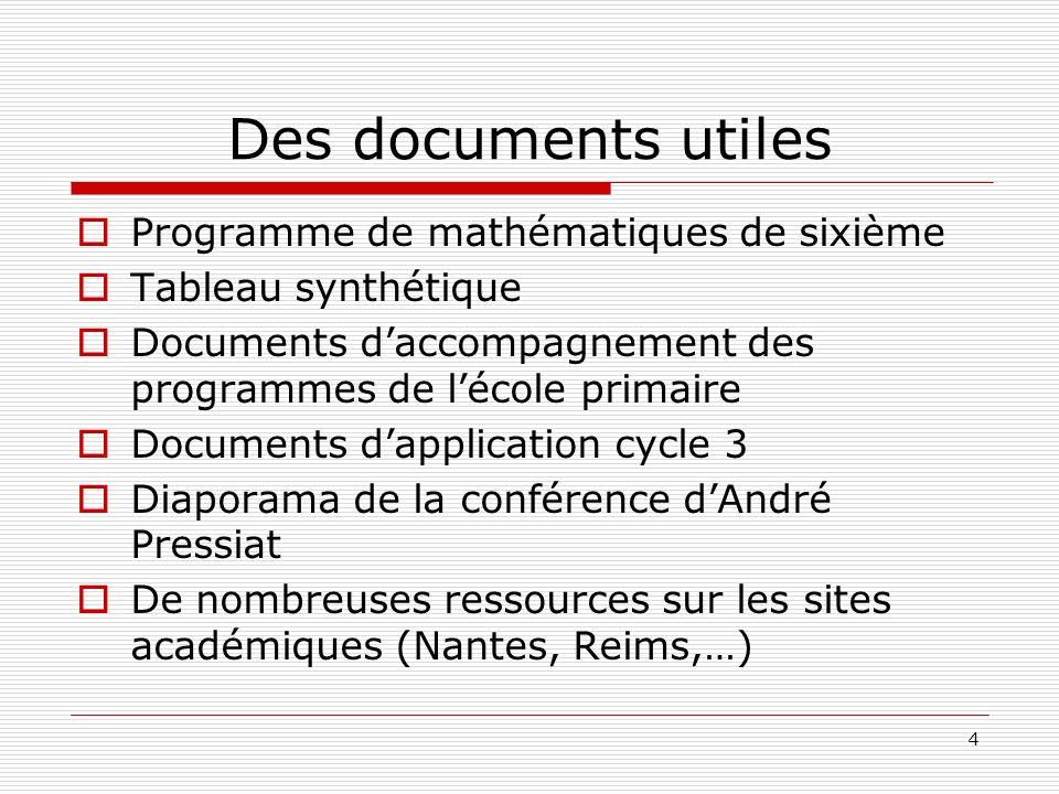 4 Des documents utiles Programme de mathématiques de sixième Tableau synthétique Documents daccompagnement des programmes de lécole primaire Documents