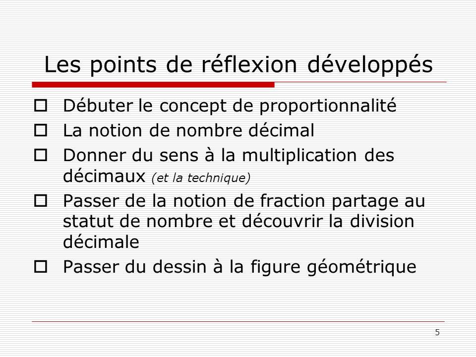 5 Les points de réflexion développés Débuter le concept de proportionnalité La notion de nombre décimal Donner du sens à la multiplication des décimau