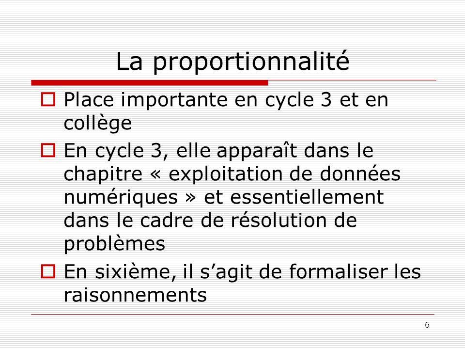 6 La proportionnalité Place importante en cycle 3 et en collège En cycle 3, elle apparaît dans le chapitre « exploitation de données numériques » et e