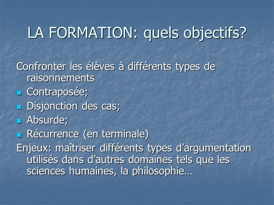 LA FORMATION: quels objectifs.