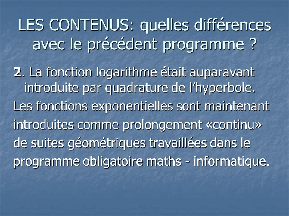 LES CONTENUS: quelles différences avec le précédent programme.